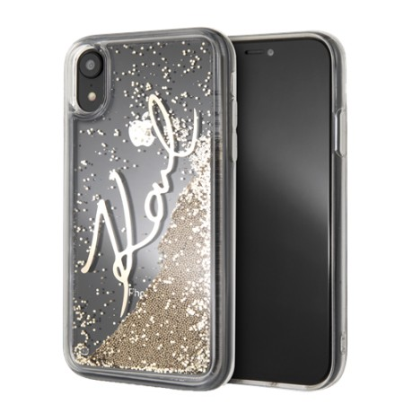KARL LAGERFELD Liquid Glitter case for iPhone XR, gold glitter, transp