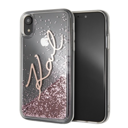KARL LAGERFELD Liquid Glitter case for iPhone XR, pink glitter, transp