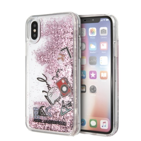 KARL LAGERFELD Liquid Glitter case for iPhone X/XS, pink glitter, icon