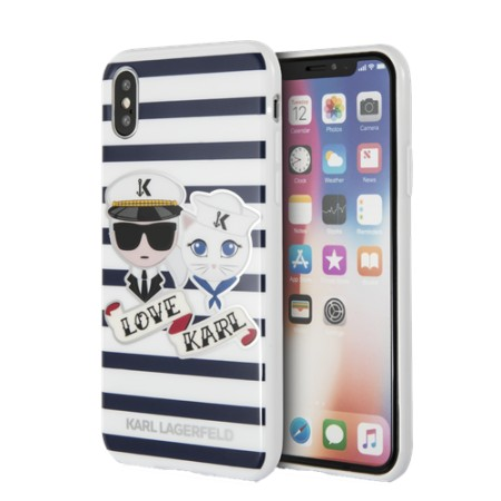 KARL LAGERFELD Karl Sailor Stripes case for iPhone X/XS, hard case, sv