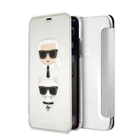 KARL LAGERFELD Karl and Choupette case for iPhone X/XS, flip case, emb