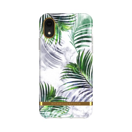 Richmond & Finch White Marble Tropics suojakuori iPhone XR:lle