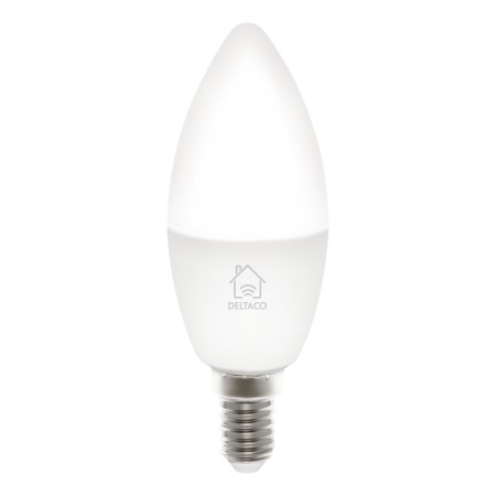 DELTACO SMART HOME LED-älylamppu, E14, WiFi, 5W, 2700K-6500K, himmenn.