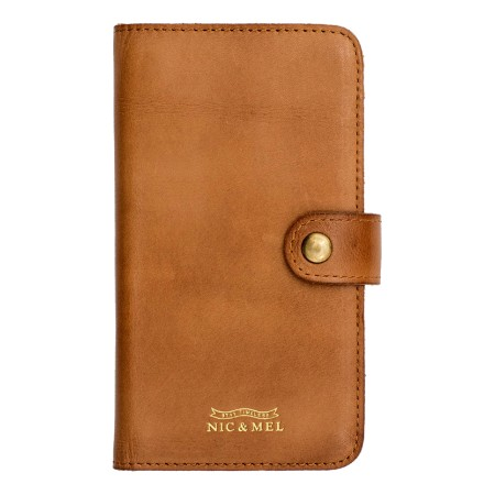 Nic & Mel Andrew, wallet case for iPhone X/Xs, 3-6 cards, cognac