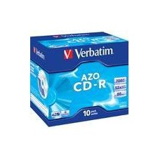 Verbatim CD-R, 52x, 700 MB/80 min, 10-pakkaus jewel case, AZO, Crystal