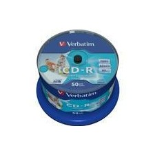 Verbatim CD-R, 52x, 700 MB/80 min, spindle, AZO, printable, 50-pakkaus