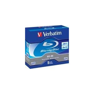Verbatim BD-RE, 2x, 25 GB/200 min, 5-pakkaus jewel case Hard Coat SERL